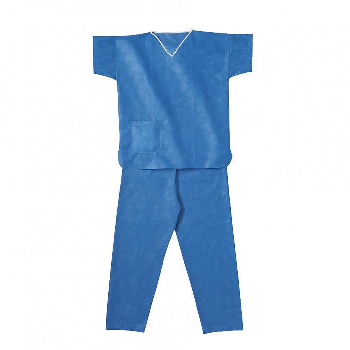 Pijama desechable SMS Azul (Cuello pico)